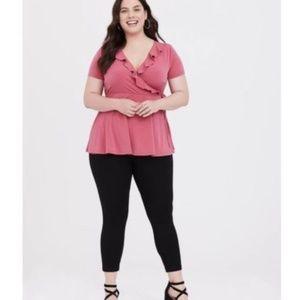 Torrid Rose Pink Knit Ruffle Tie Top Plus Size 3X